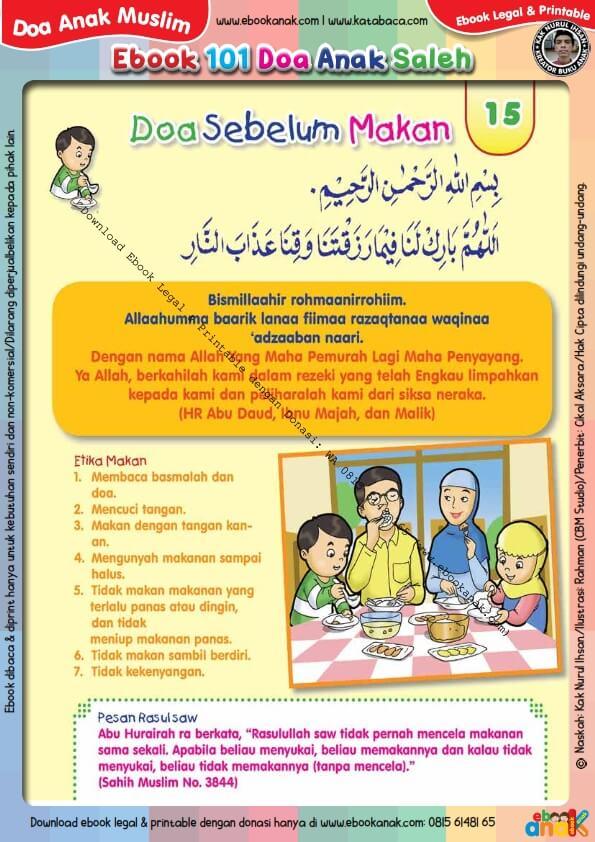 Ebook 101 Doa Anak Saleh, Doa Sebelum Makan (17)