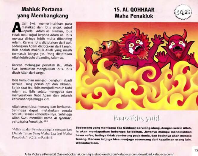 Ebook 99 Asmaul Husna for Kids Al Qohhaar, Mahluk Pertama yang Membangkang (17)