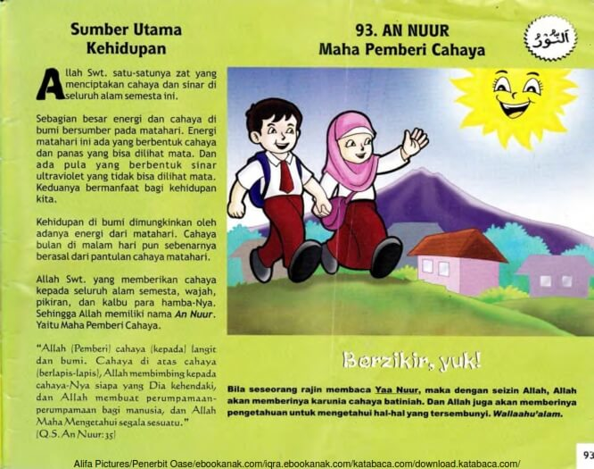 Ebook 99 Asmaul Husna for Kids, An Nuur, Sumber Utama Kehidupan (95)