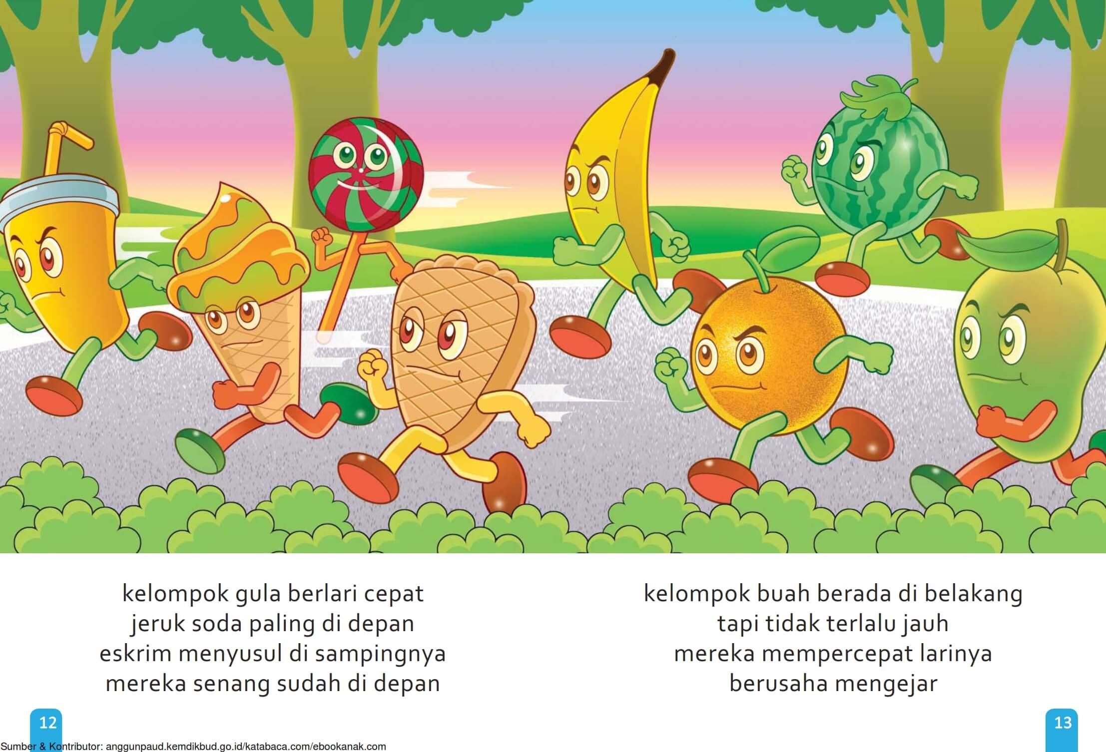 Ebook Cerita Anak, Aku Suka Buah, Kelompok Gula Berlari Cepat (9)