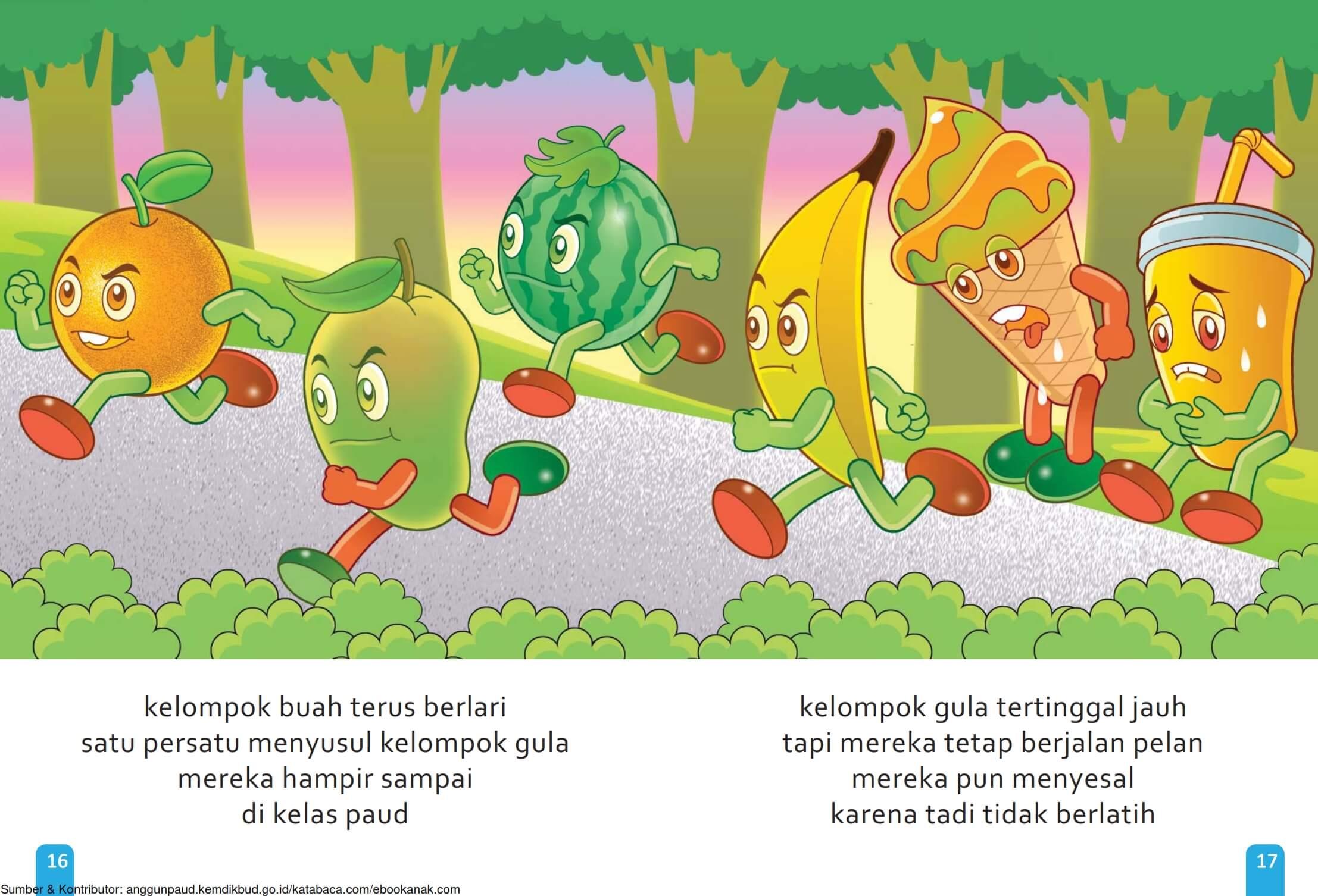 Ebook Cerita Anak, Aku Suka Buah, Kelompok Gula Terus Berlari (11)