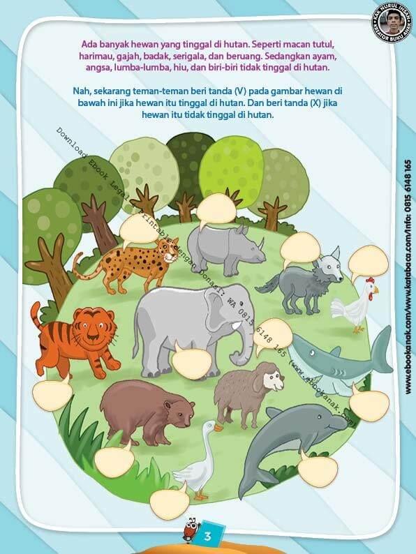 Ebook PDF 10 Menit Pintar Membaca, Menulis, dan Menghitung, Hewan di Hutan (4)