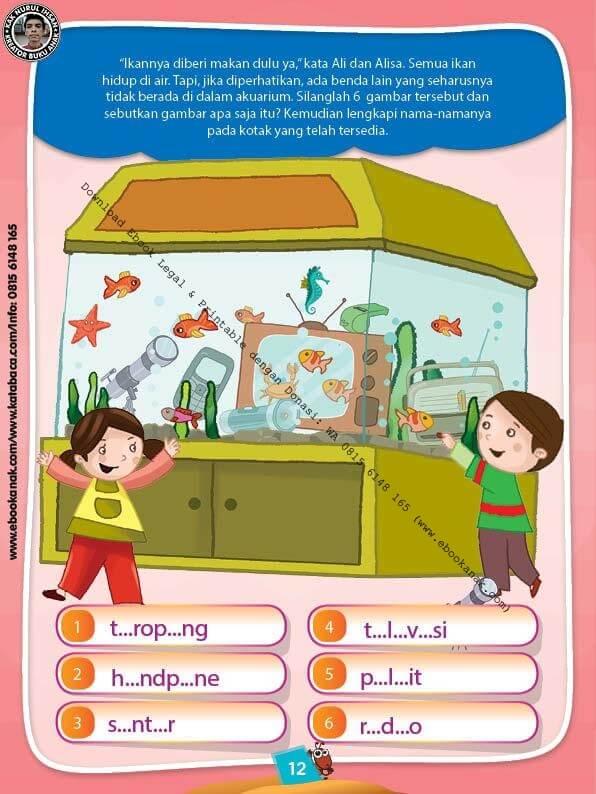 Ebook PDF 10 Menit Pintar Membaca, Menulis, dan Menghitung, Melengkapi Nama-Nama Benda (12)