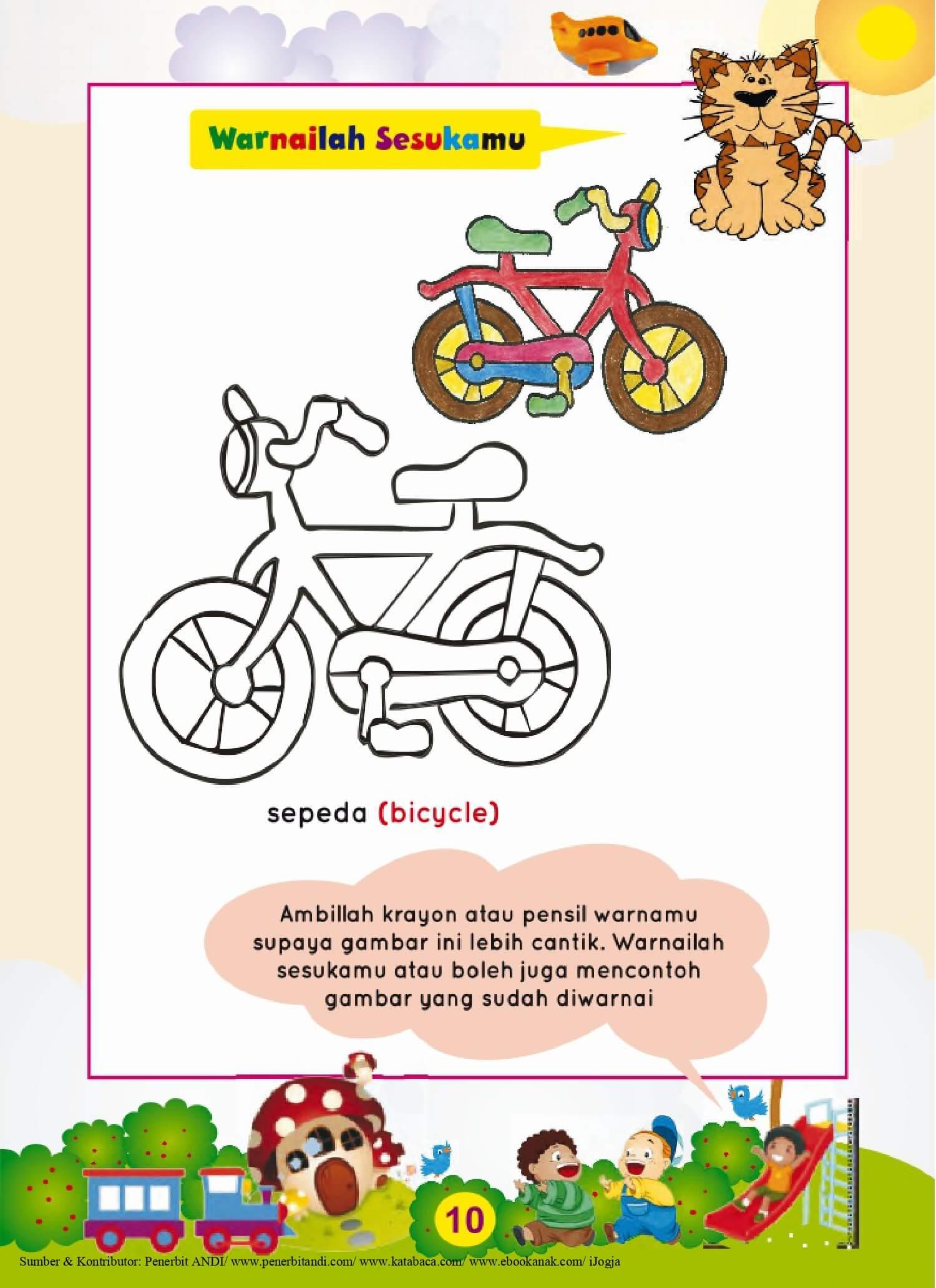 Ebook Super Calistung Mulai Usia TK Mewarnai Gambar Sepeda