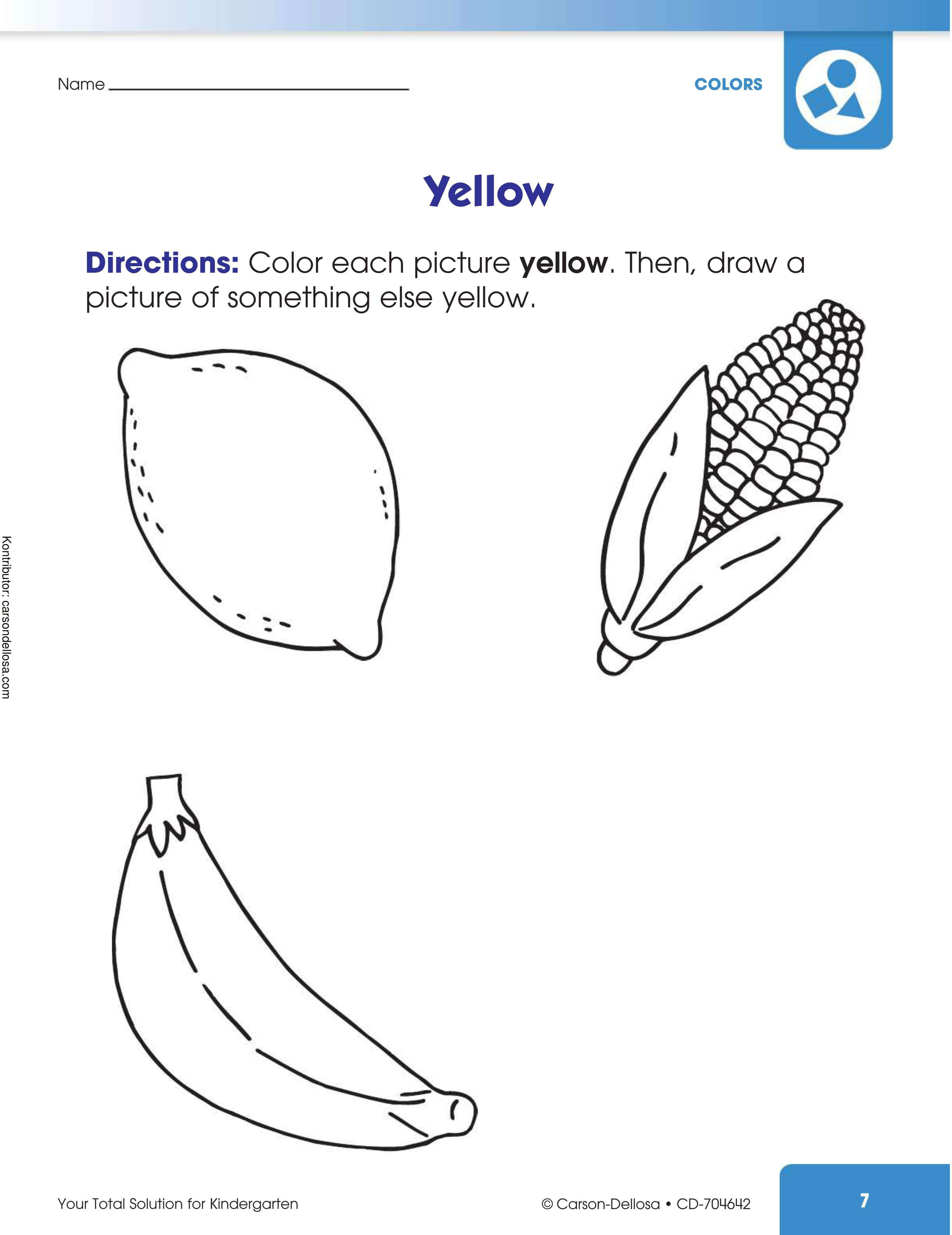 Belajar Mewarnai Benda Dengan Warna Kuning
