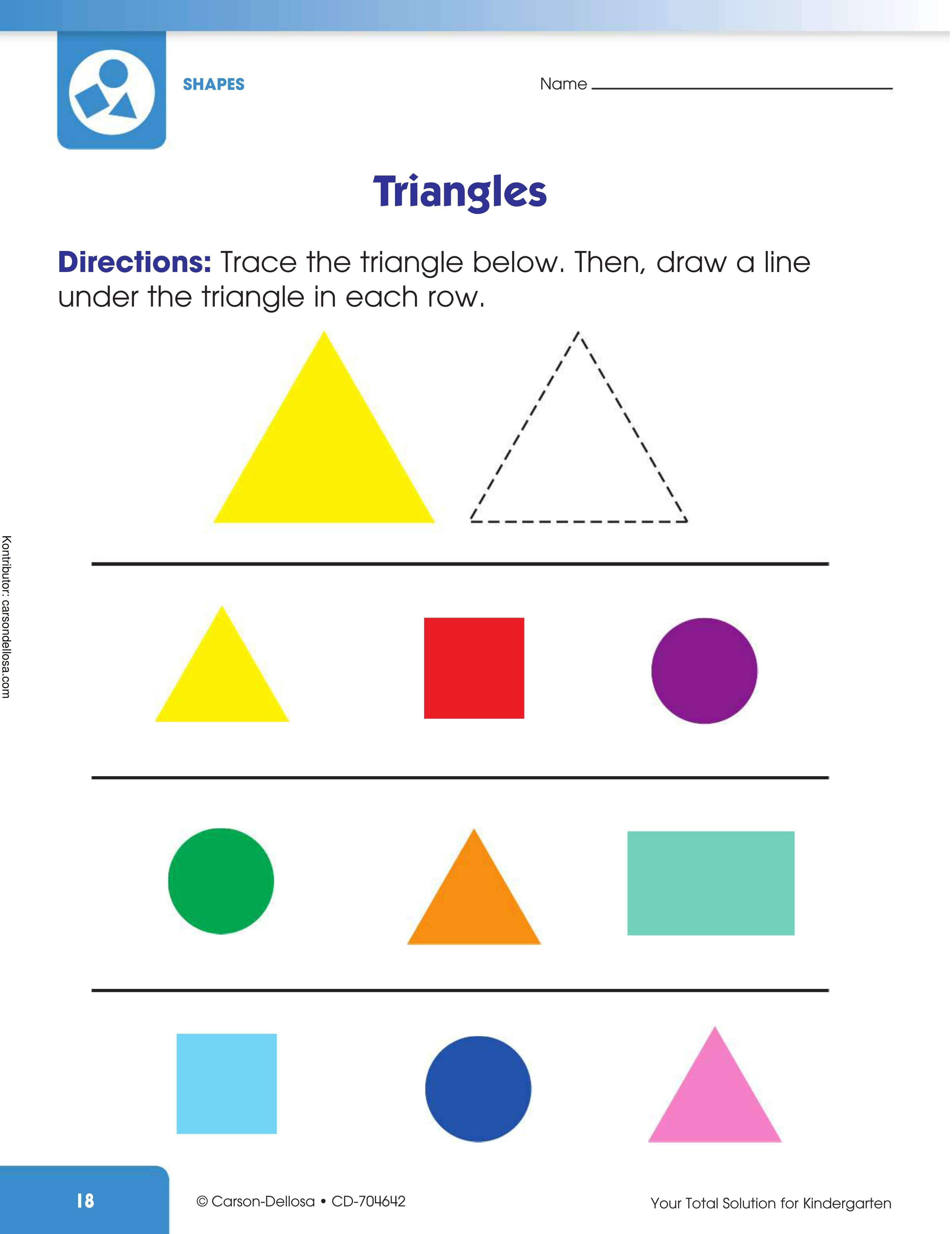 Belajar Mengenal dan Menggambar Bentuk Segi Tiga
