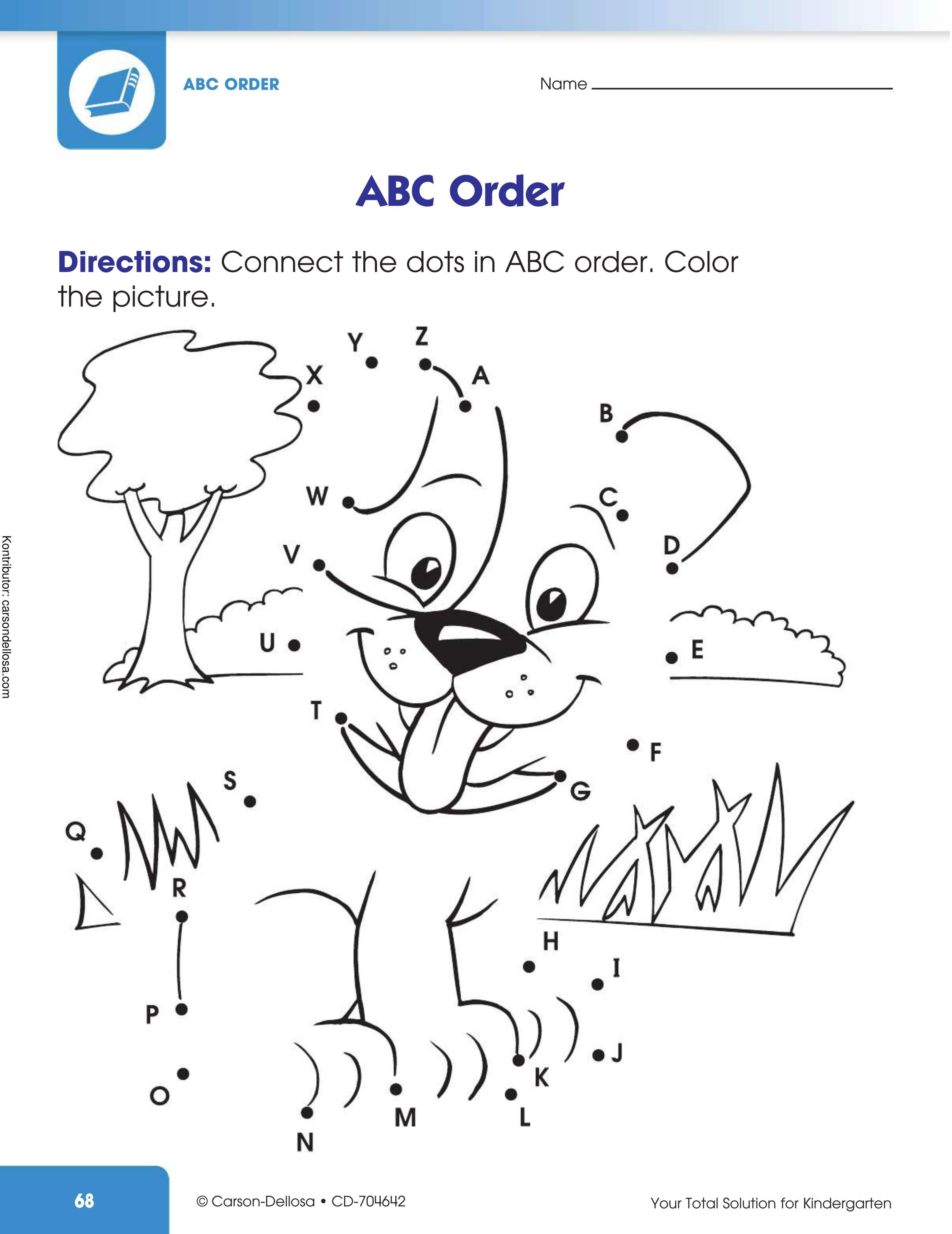Belajar Alpabet dengan Menghubungkan Titik-Titik pada Gambar Dogi Anjing