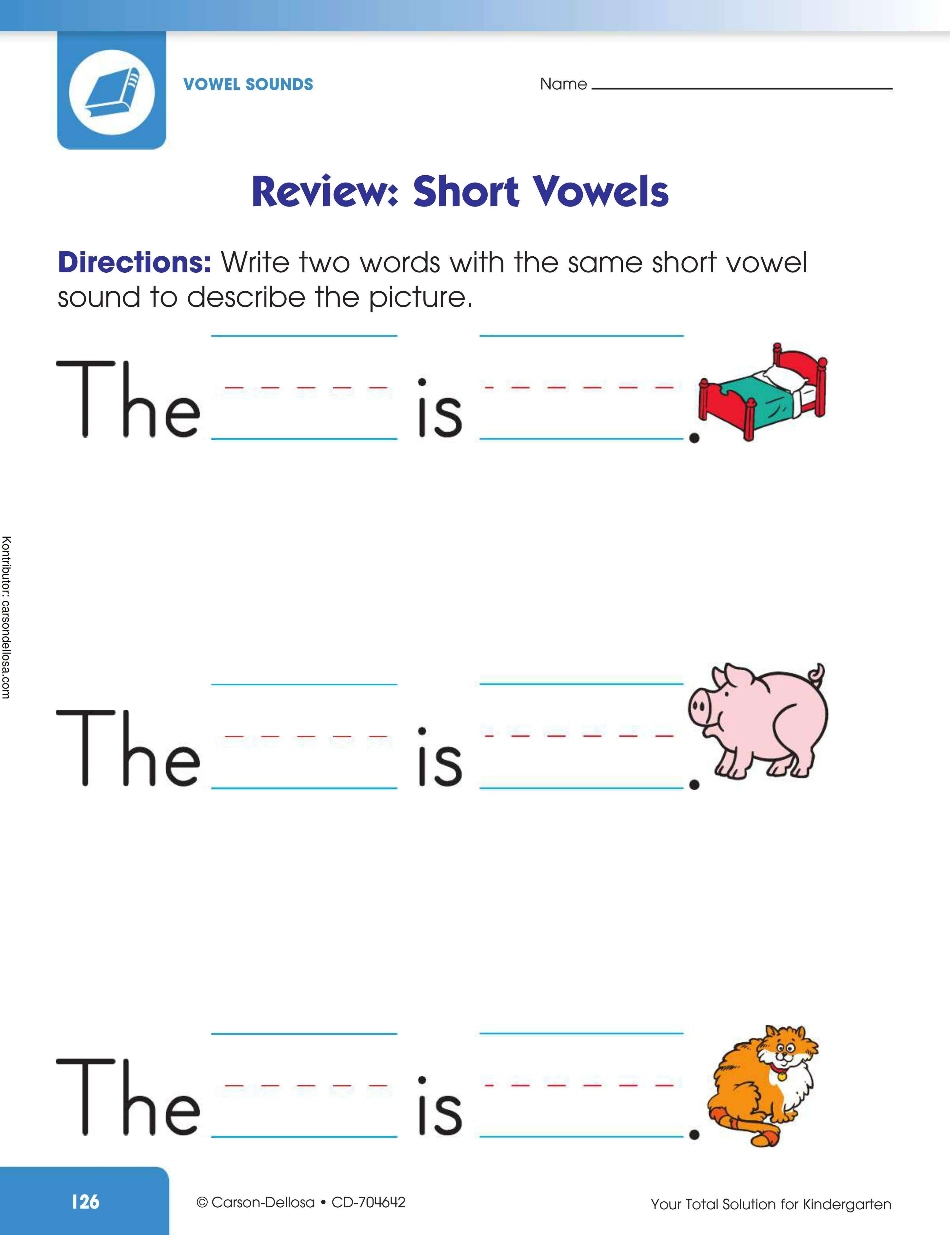 Belajar Menulis Bunyi Huruf Vokal Pendek