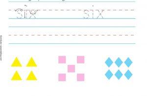 Menebalkan dan Menulis Kata Enam dan Menggambar Huruf X