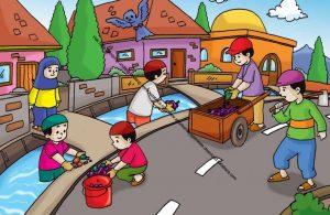 Gambar (1) Gotong Royong Membersihkan Sampah