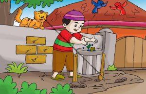 Gambar (11) Membuang Sampah pada Tempatnya