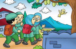 Gambar (13) Pergi ke Sekolah Bersama-sama