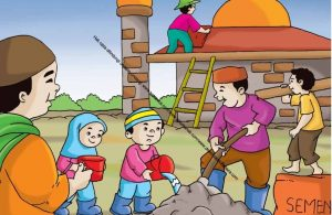 Gambar (15) Bergotong Royong Ikut Membangun Masjid