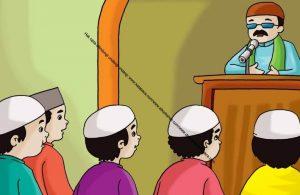 Gambar (16) Mendengarkan Khutbah Khatib Ketika Shalat Jumat