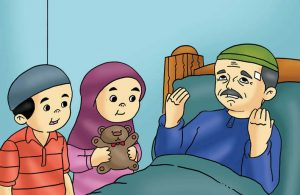 Gambar (17) Menengok Kakek yang Sedang Sakit