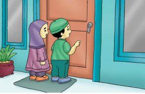 Gambar (18) Mengucapkan Salam Sebelum Masuk ke Rumah