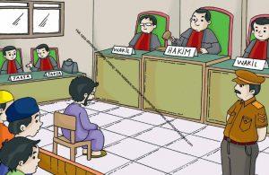Gambar (19) Hakim dan Jaksa sedang Mendengarkan Pembelaan Terdakwa