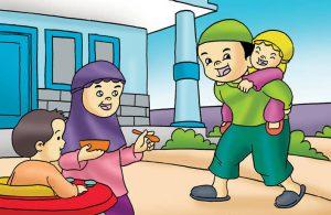 Gambar (19) Menggendong dan Menyuapi Makan