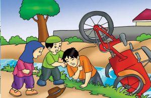 Gambar (2) Membantu Orang yang Terkena Musibah di Jalan