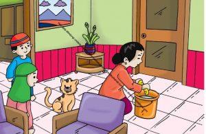 Gambar (2) Pembantu rumah tangga sedang mengepel lantai rumah.