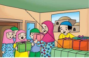 Gambar (22) Berbagi Bingkisan dan Makanan dengan Anak Yatim