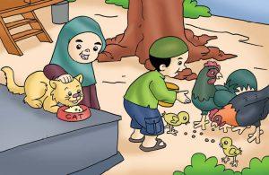 Gambar (22) Memberi Makan Hewan Peliharaan
