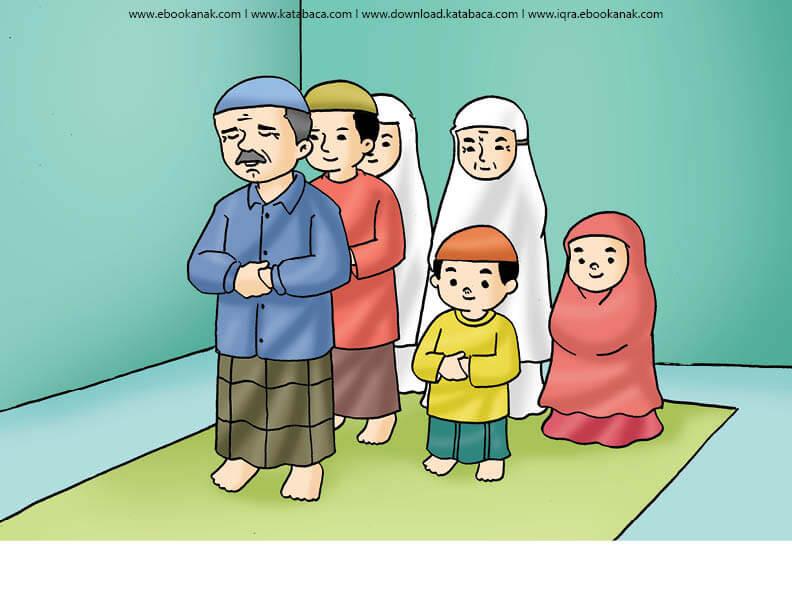 Gambar (23) Shalat Berjamaah Bersama Keluarga | Ebook Anak