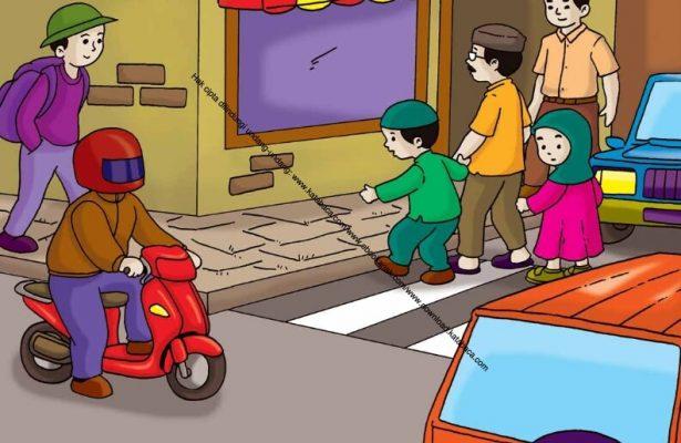 Gambar (24) Membantu Menyeberangkan Orang yang Buta di Jalan yang Ramai