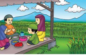 Gambar (27) Makan Siang di Saung dekat Sawah