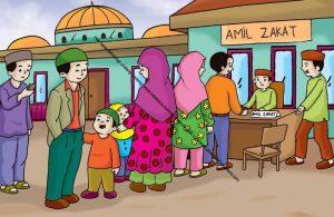 Gambar (27) Membayar Zakat Fitrah ke Amil Zakat