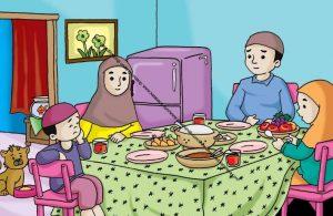 Gambar (3) Makan Bersama Keluarga di Meja Makan