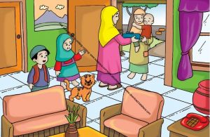 Gambar (5) Menyambut Tamu yang Datang ke Rumah dengan Hormat dan Ramah