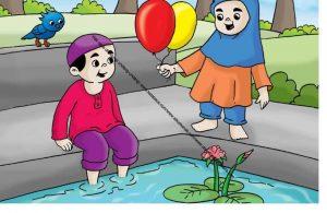 Gambar (56) Membawakan Balon untuk Teman