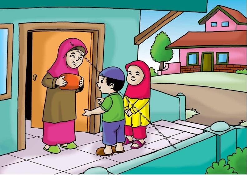 Gambar (58) Mengantarkan Makanan ke Rumah Tetangga