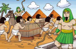 Gambar (61) Firaun Menyuruh Rakyatnya Kerja Paksa Siang Malam Membangun Piramida