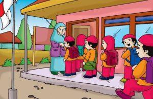 Gambar (9) Siswa-Siswi sedang Bersalaman dengan Ibu Guru Sebelum Masuk ke Kelas