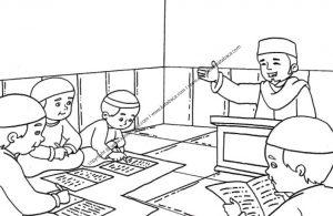 Gambar Anak Anak Sedang Mengaji Bersama Pak Ustaz 4 Ebook Anak