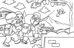 Gambar Mewarnai Anak Anak Pulang Sekolah Ebook Anak