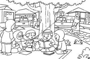 Gambar Mewarnai Anak-Anak sedang Belajar Kelompok di Taman 15