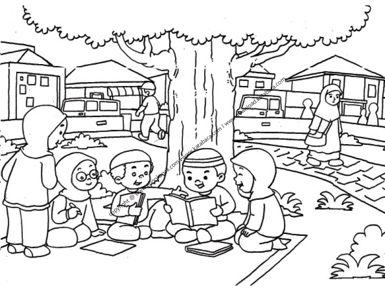 Gambar Mewarnai Anak Anak Sedang Belajar Kelompok Di Taman Ebook Anak