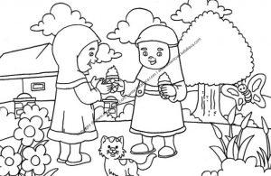 Gambar Mewarnai Anak Perempuan Sedang Memberi Es Krim Kepada Temannya 21 Ebook Anak