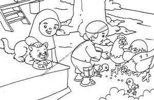 Gambar Mewarnai Anak Sedang Memberi Makan Hewan Peliharaan (22)
