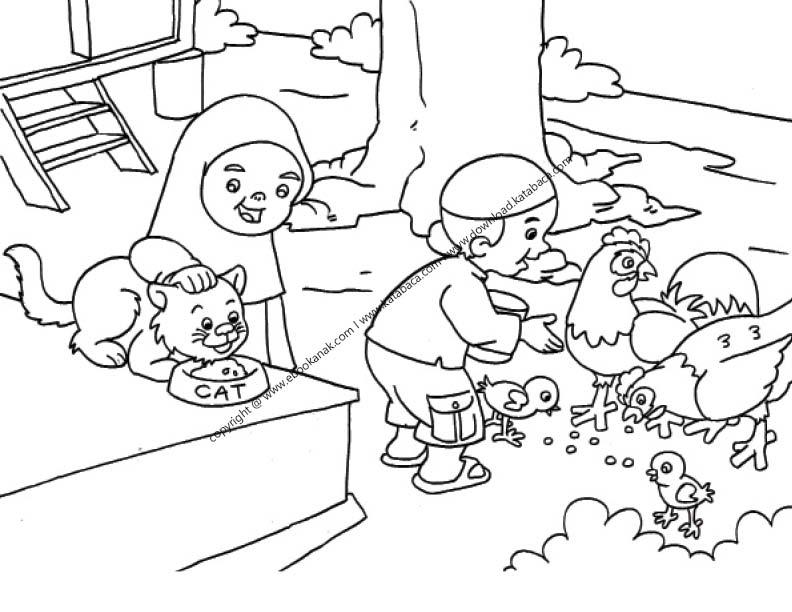 Gambar Mewarnai Anak Sedang Memberi Makan Hewan Peliharaan 22 Ebook Anak