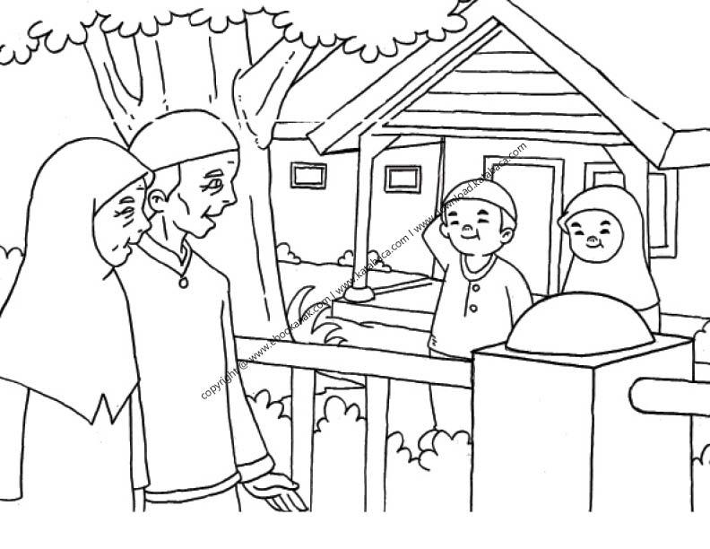Gambar Mewarnai Anak sedang Berkunjung ke Rumah Kakek Nenk (25)