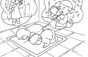 Gambar Mewarnai Anak sedang Melakukan Sujud Syukur (28)