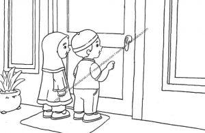 Gambar Mewarnai Anak sedang Mengetuk Pintu Rumah dan Mengucapkan Salam (18)
