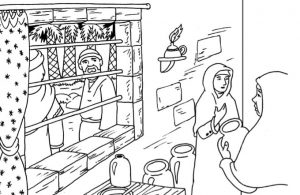 Gambar Mewarnai Asmaul Husna (8) Gadis Penjual Susu