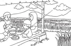 Gambar Mewarnai Berdoa Sebelum Makan di Saung dekat Sawah (27)