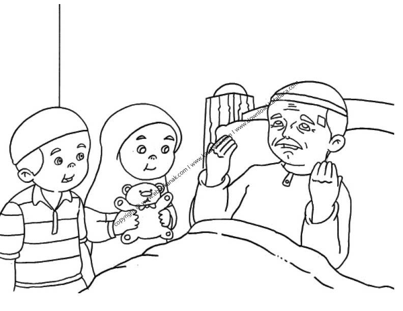 gambar mewarnai dua orang anak sedang menengok kakeknya