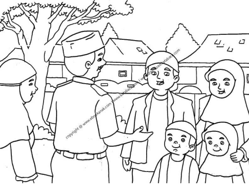 Gambar Mewarnai Mengucapkan Salam dan Menyapa Ketika Bertemu Orang di Jalan (26)